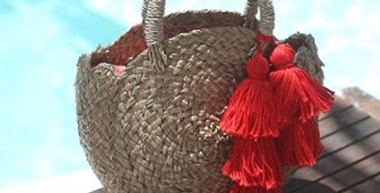 Petite Luna Straw Bag - with Red Tassel
