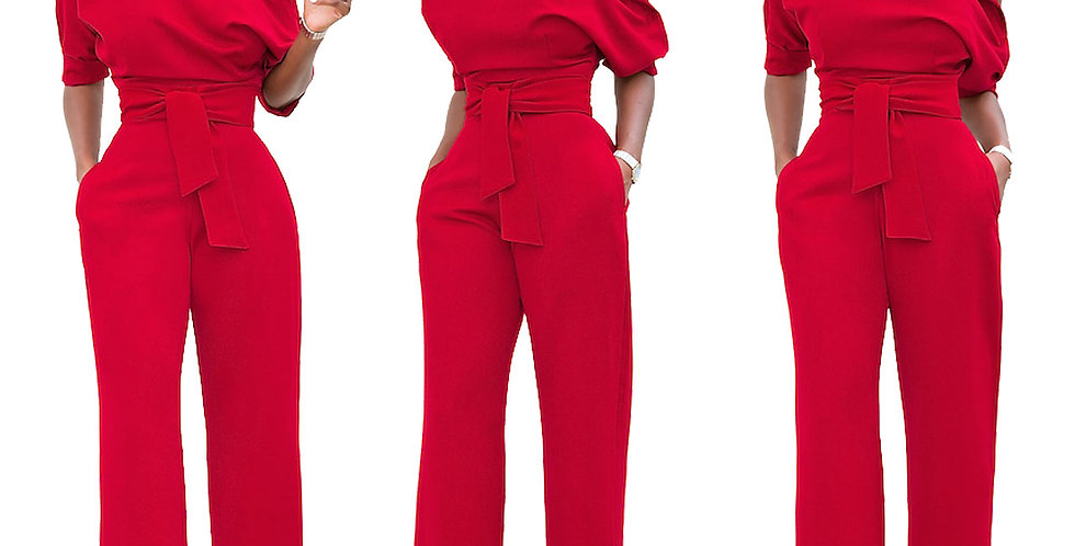 Professional Women's Fashion Solid Color Asymmetrical One-Piece Jumpsuits
