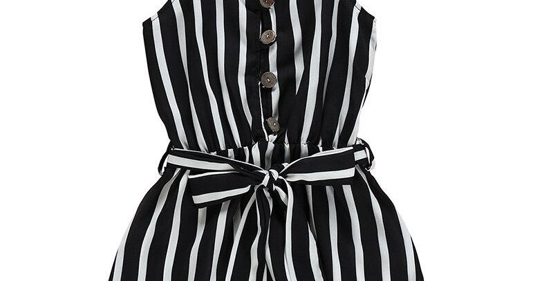 Fashion Stripe Print Lace Jumpsuit Summer Girl  Bodysuit