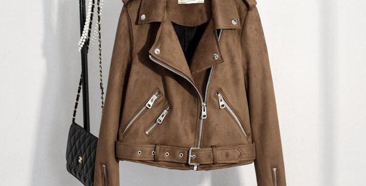 Slim Suede  Biker Jacket PU Coat