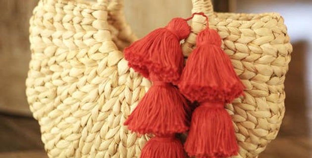 Shell Hyacinth Straw Bag, with Red Tassels