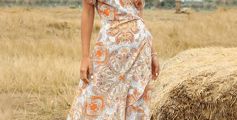 Ladies Medium Long Summer Print Dress