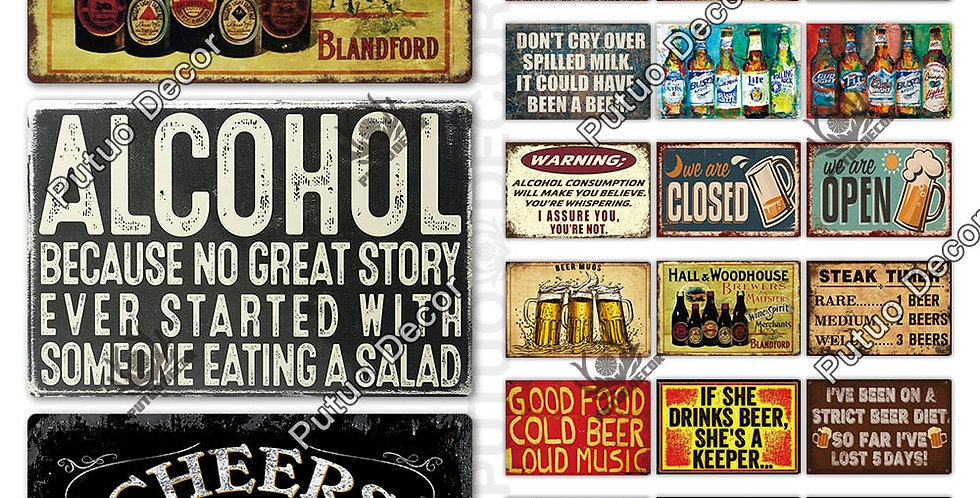 Metal Vintage Funny Tin Signs Bar Pub Man Cave Tin Plates Vintage Metal Signs