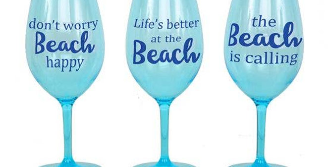 Beach Sayings Wine Glass