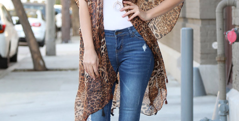 Hdf2224br - Brown Open Front Leopard Tassel Kimono