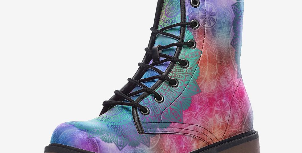 Pastel Watercolor Mandala Vegan Leather Combat Boots
