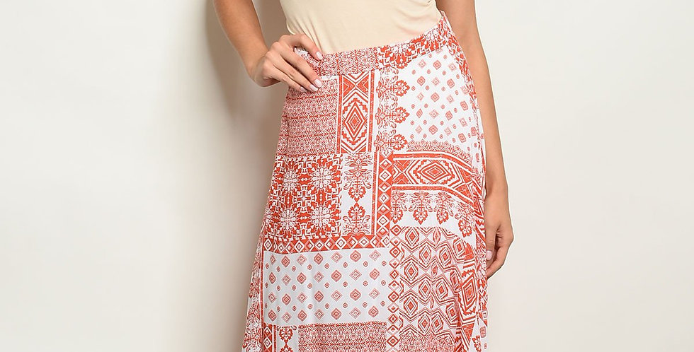 Womens Coral White Skirt