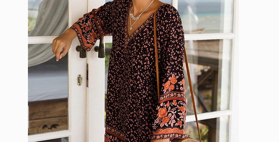 V-Neck Long Sleeve  Vintage Floral Print Dresses Loose Summer Dress Mini Boho