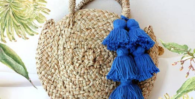 Petite Luna Tote Bag with Royal Blue Tassels