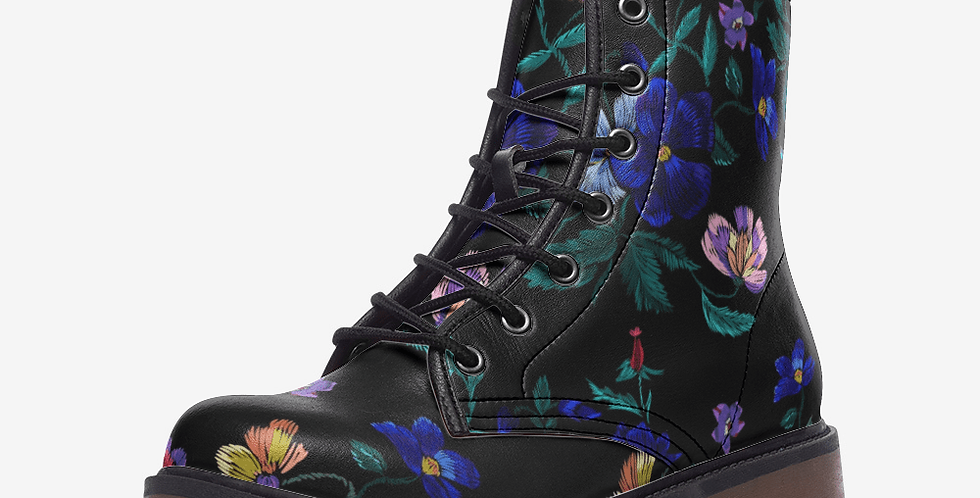 Faux Embroidery  With Violet Flowers Leather Combat Boots