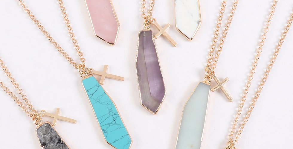 Hdn3123 - Natural Stone With Cross Pendant Necklace