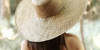 Swasti Wide Round Palm Straw Hat Beige