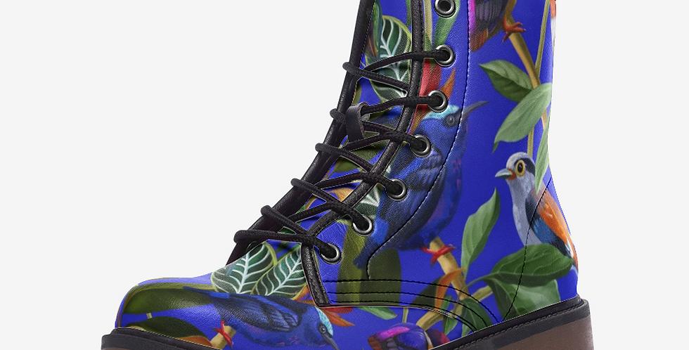 Birds in Rainforest on Blue Vegan Leather Combat Boots