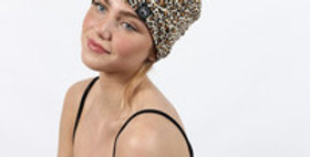 Animal print peak a boo beanie