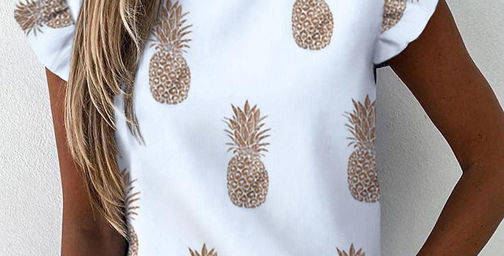 Pineapple Print Ruffle Blouse Shirts Short Sleeve Slim Blouses V-Neck Tops