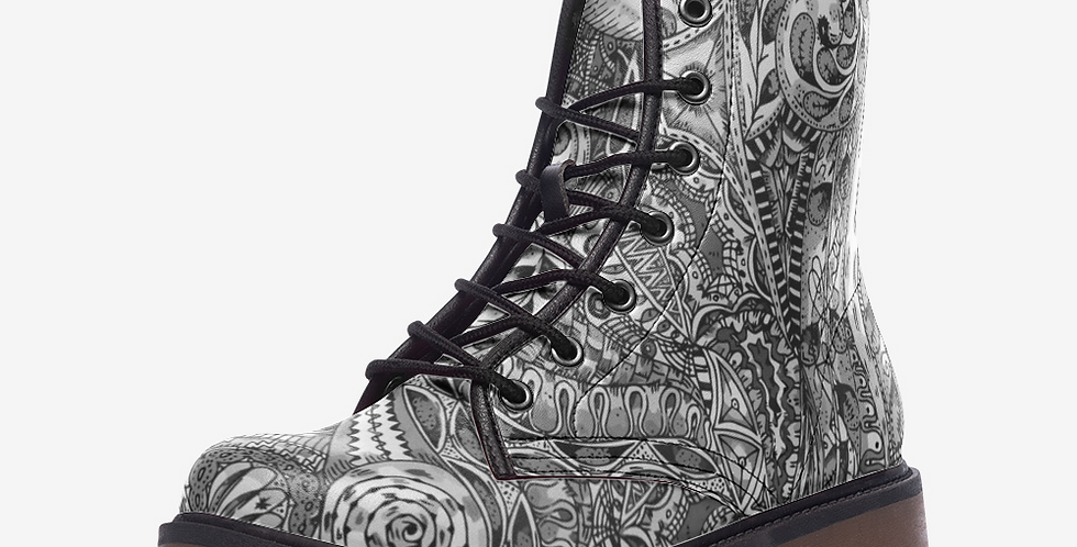 Dizzy Shaded Leather Combat Boots