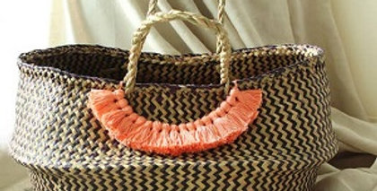 Borneo Chevron Basket - Pumpkin Orange Tassels