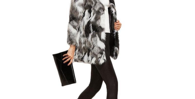 Faux Fur Fuzzy Color Block Open Front Coat