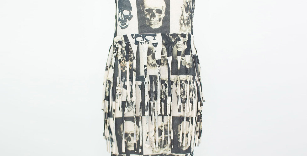 Skull Layered Fringe Tunic Dress