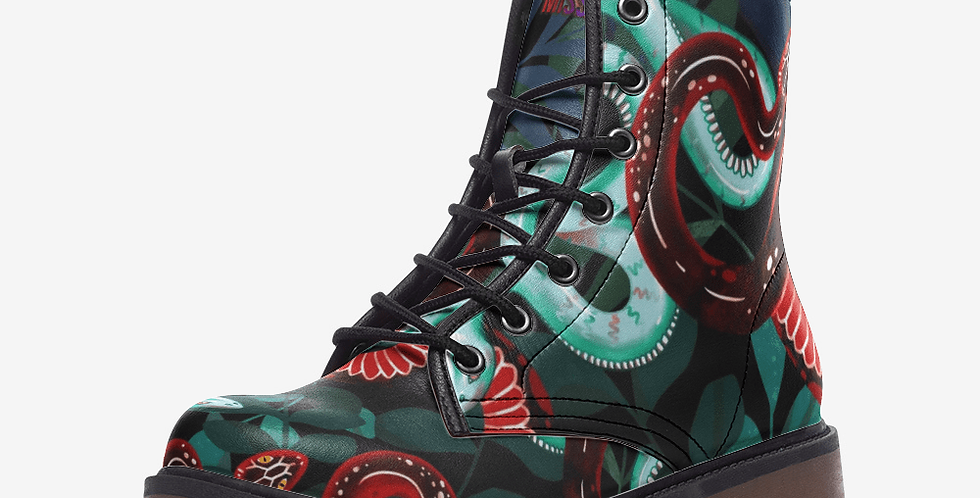 Jungle Snakes Leather Combat Boots