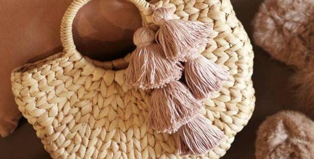 Shell Hyacinth Straw Bag, with Blush Tassels