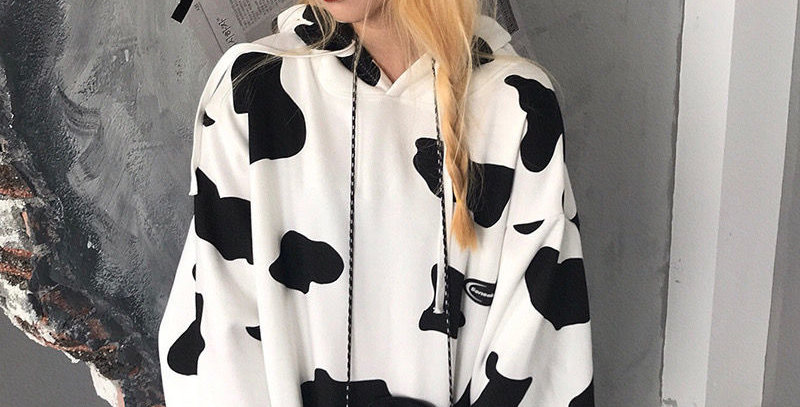 Cute Cow Print  Women Oversize Aesthetic Pullover Fashion Casual Loose Hoodie
