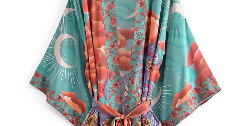 Floral Print Beach Bohemian Kimono Dresses Rayon Cotton Short Robe Kimono