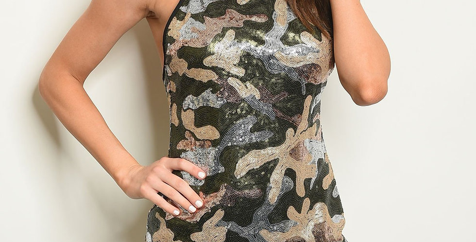 Camouflage With Sequins Dress