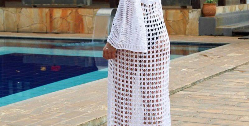 White Long Sleeve Cut Out Slit Beach Dress/ Sundress