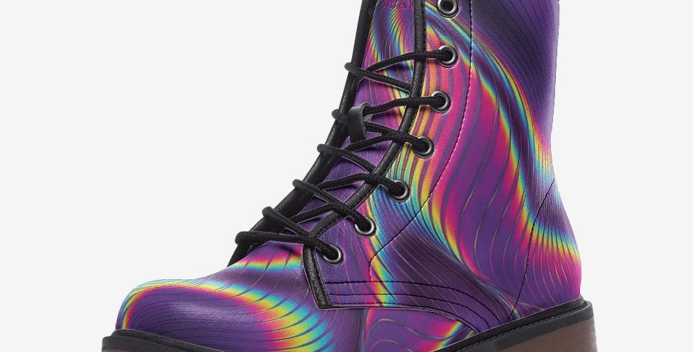 Purple Prism Leather Combat Boots