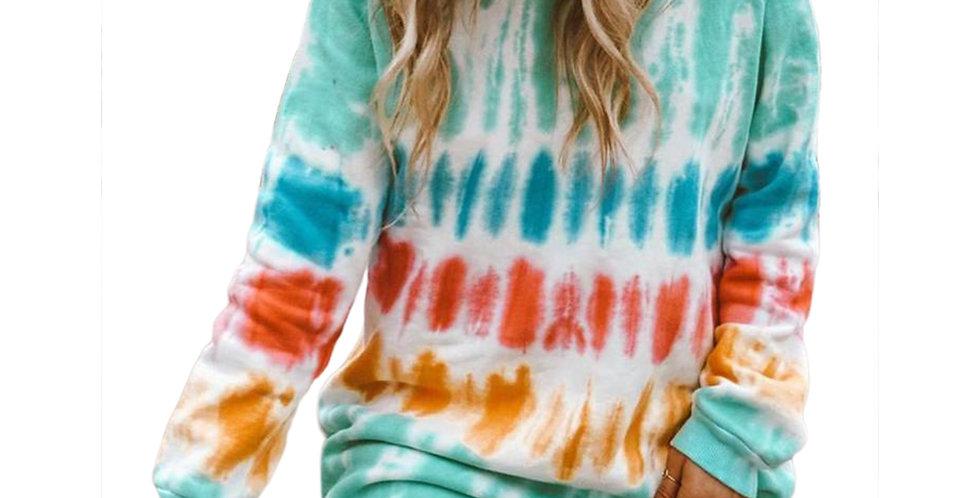 Rainbow Tie Dye Print Sweatshirt Dress Long Sleeve O-Neck Mini Dress Loose Dress