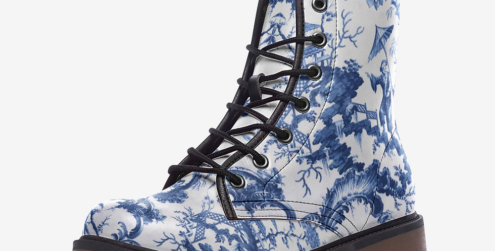 Chinese Porcelain Blue White Leather Combat Boots