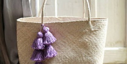 Borneo Sani Straw Beach Bag with Tassels