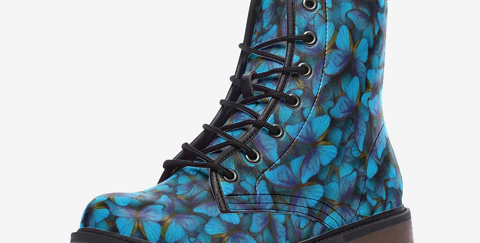Blue Butterflies Leather Combat Boots