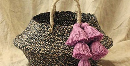 Straw Belly Basket Bag, with Purple Tassels