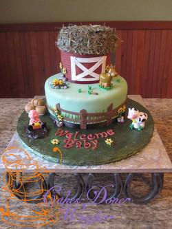 Farm barnyard themed baby shower cak