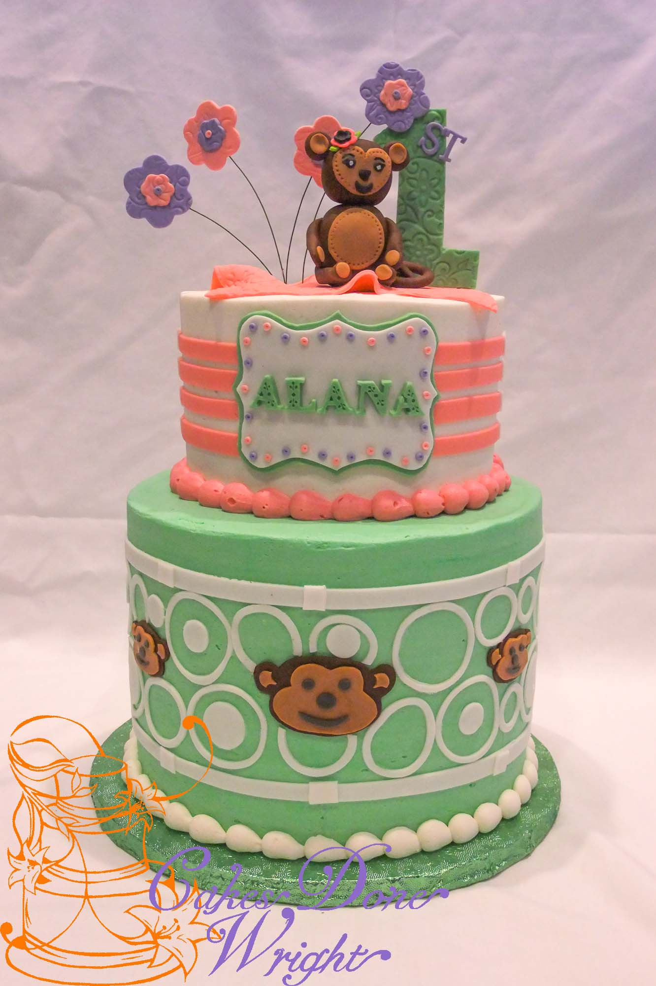 1st birthday monkey cake