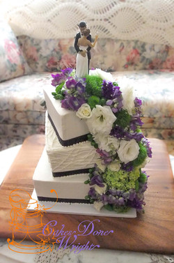 Cascading purple flowers