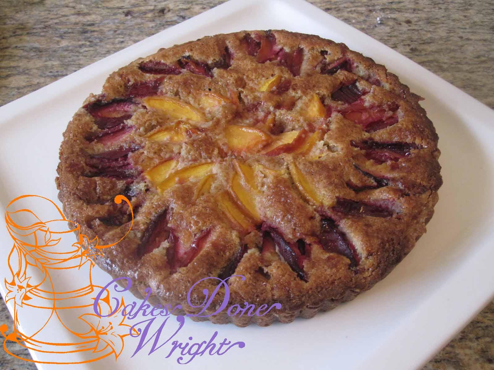 Plum Peach and almond tart