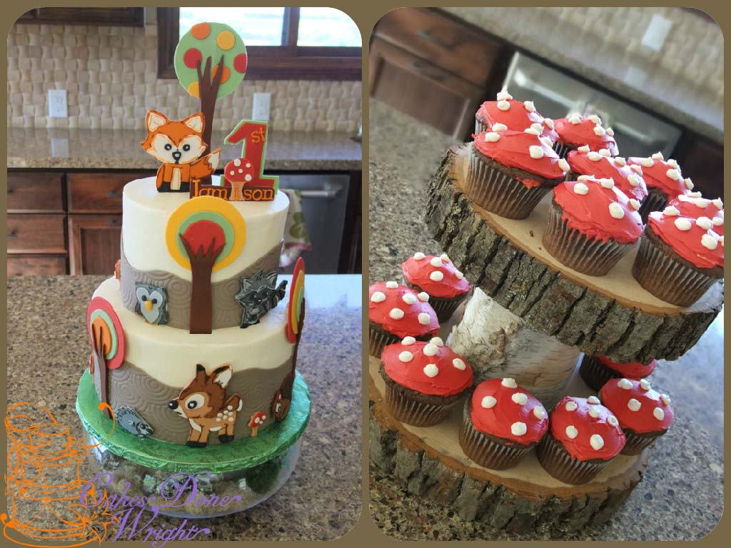Woodland Animals 1st birthday cake