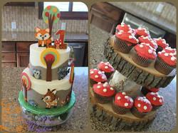 Woodland Animals 1st birthday cake