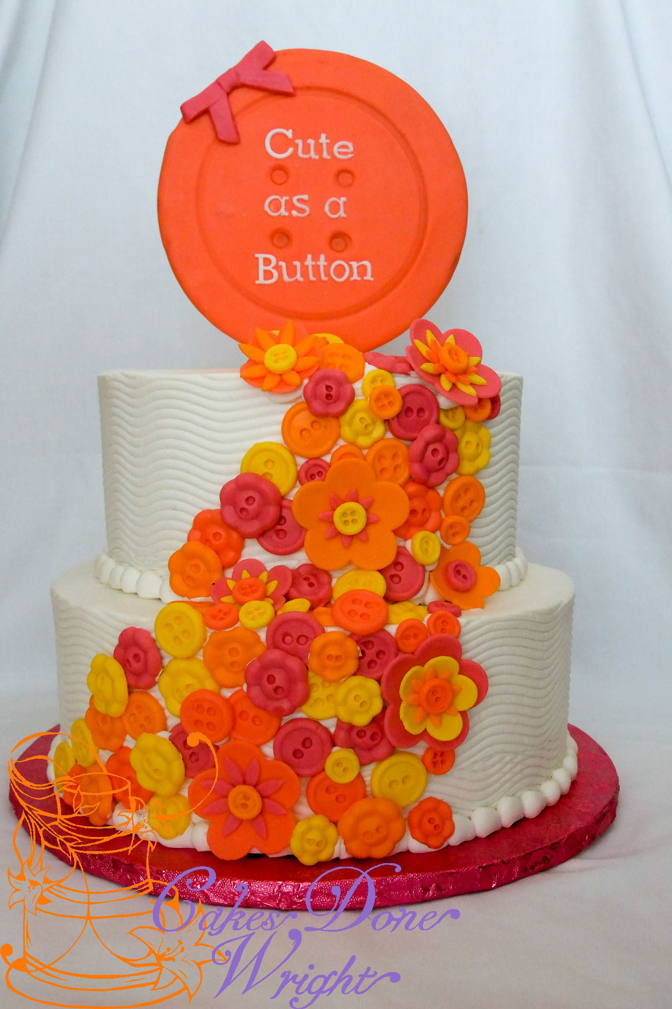 cute as a button baby shower cake