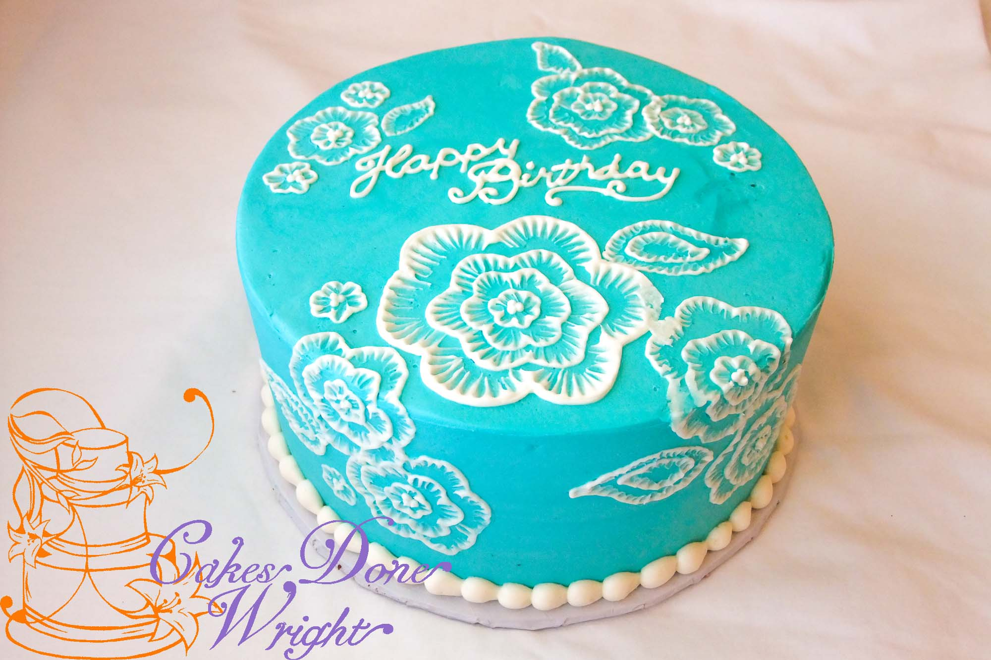 Happy Brithday Painted Lace Cake