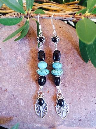 Onyx Black Tourmaline Turquoise Earrings