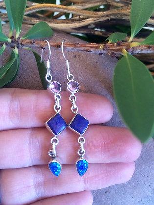 Lapis Lazuli Amethyst Fire Opal  Earrings