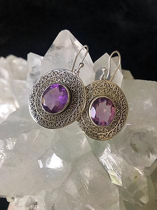 Amethyst Bali Silver Earrings