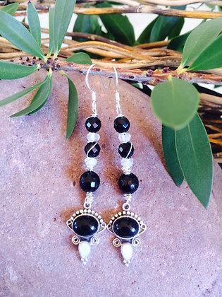 Onyx White Opal Rainbow Moonstone Earrings