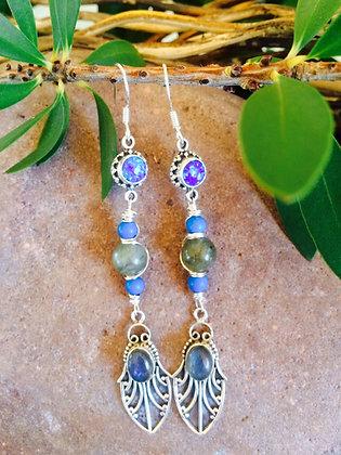 Labradorite Fire Opal Turquoise Earrings