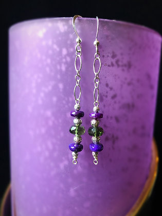 Sugilite/Moldavite Earrings