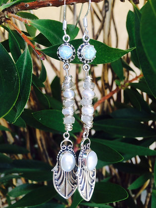 White Opal & Pearl Earrings